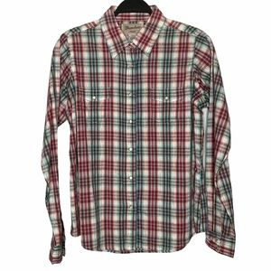 Wrancher by Wrangler Plaid Pearl Snap Shirt Size L